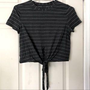 Striped Grey Tie-Front Lululemon Short-Sleeve